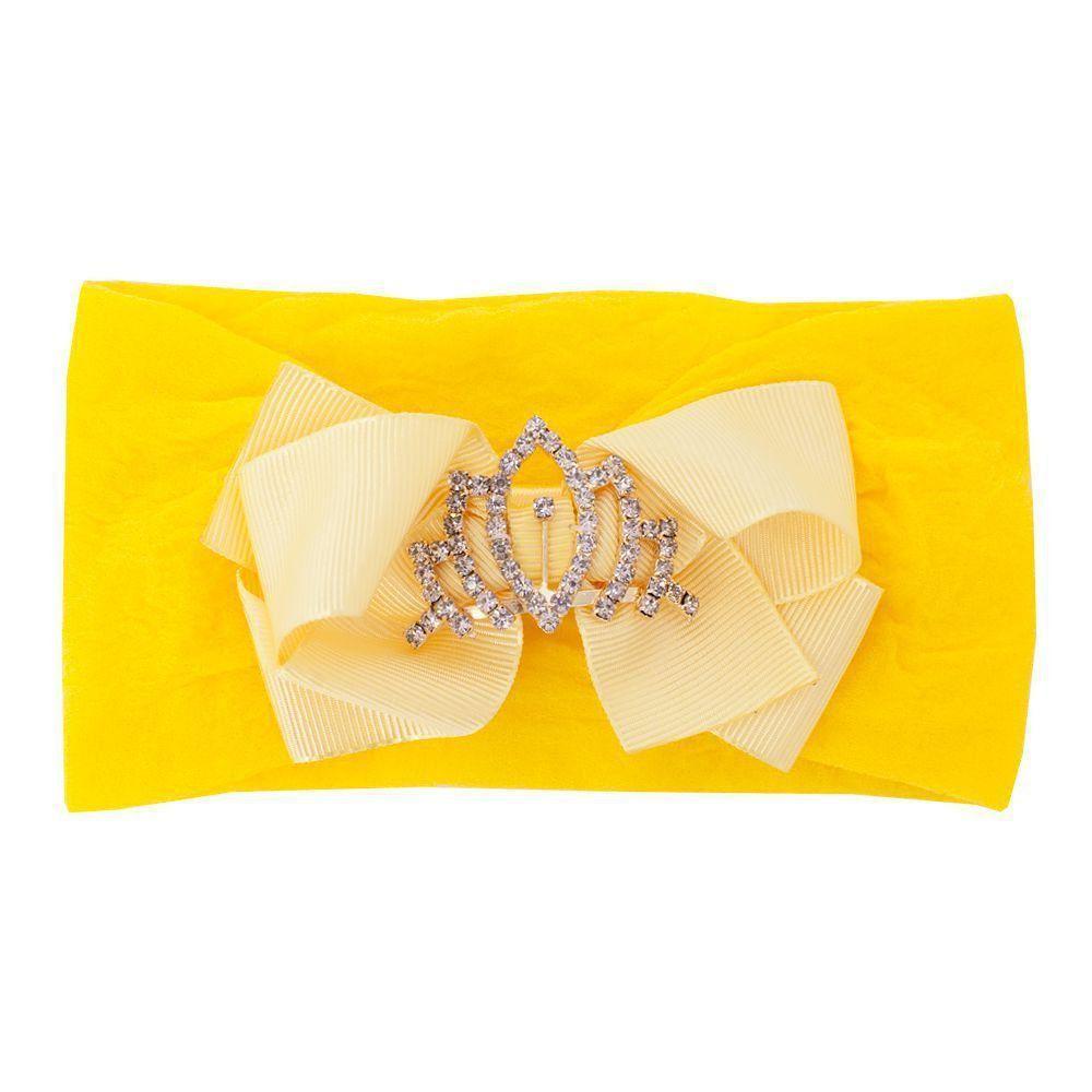 Faixa bebê de meia com laço e coroa - Amarelo