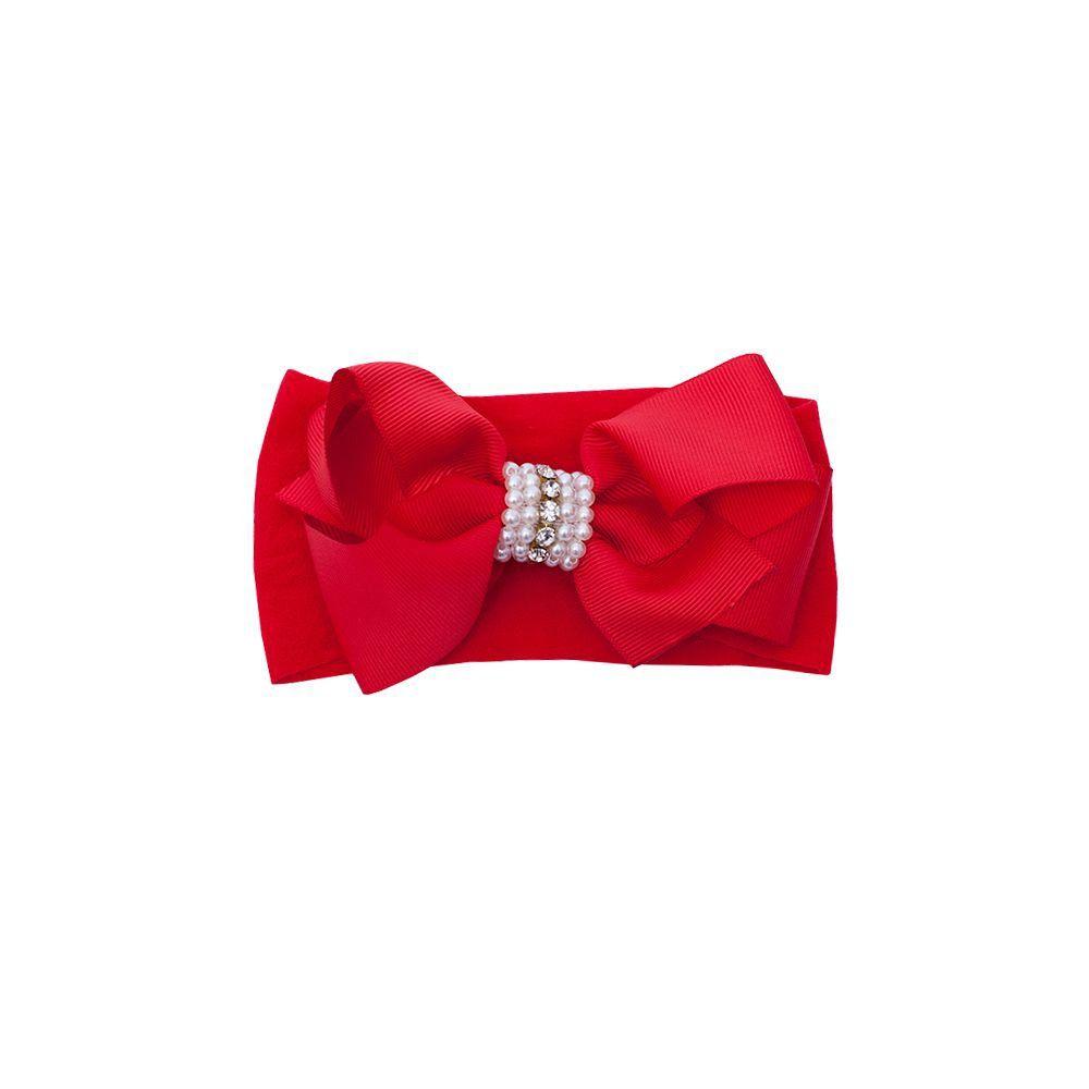 Faixa bebê de meia com laço e pérolas - Vermelho
