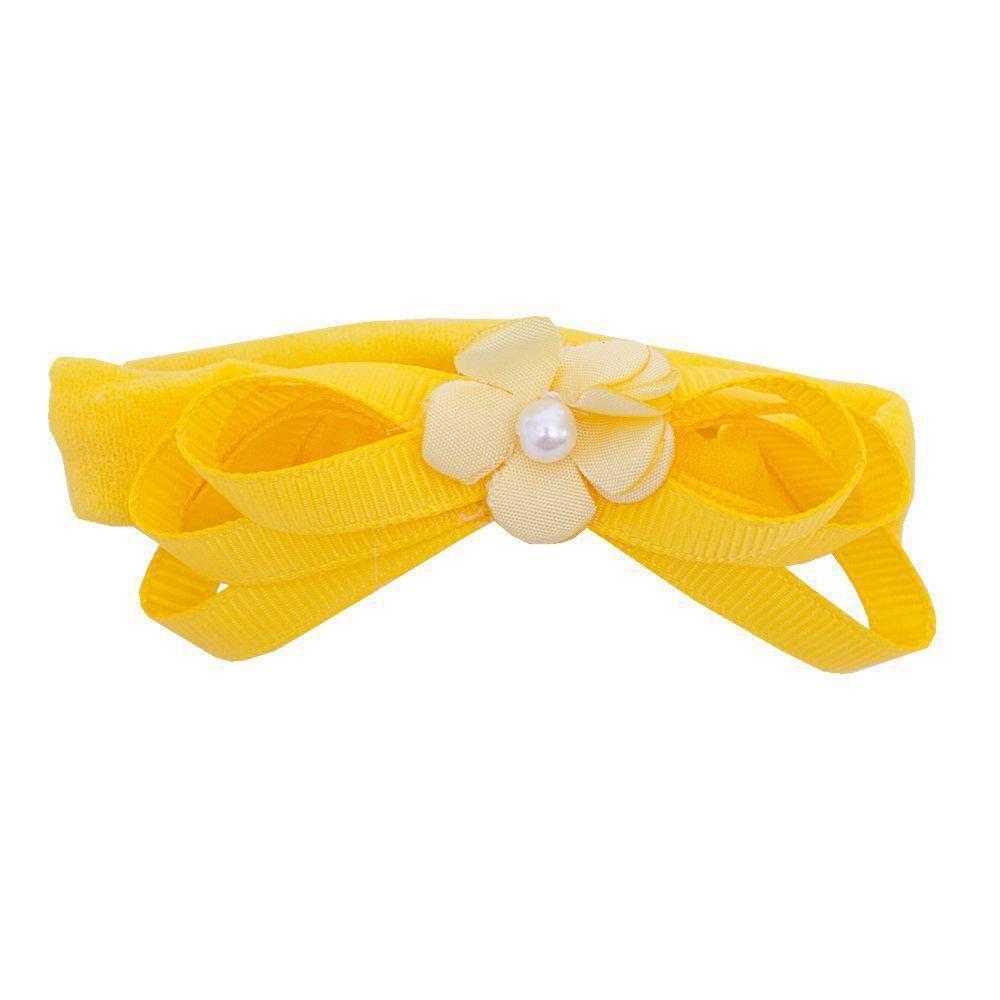 Faixa bebê de meia flor e laços - Amarelo