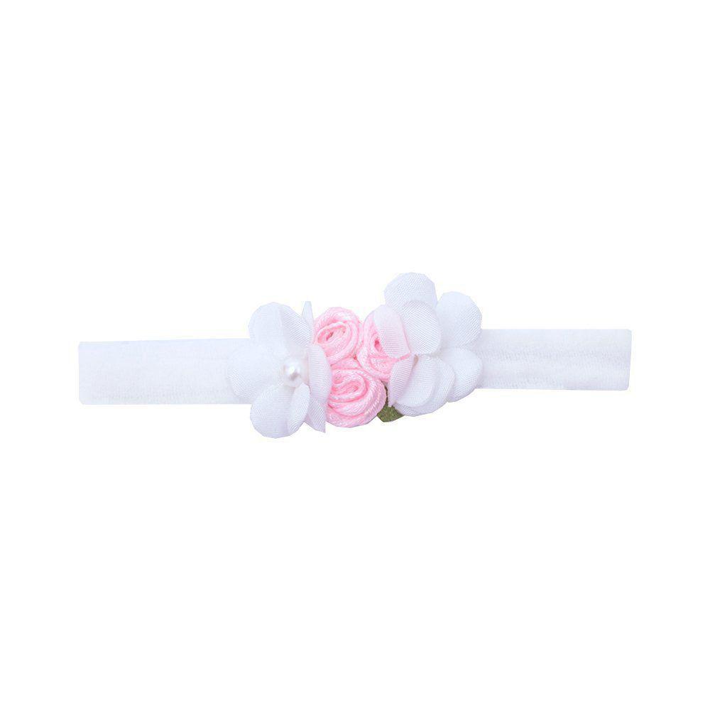 Faixa bebê de meia flores - Branco