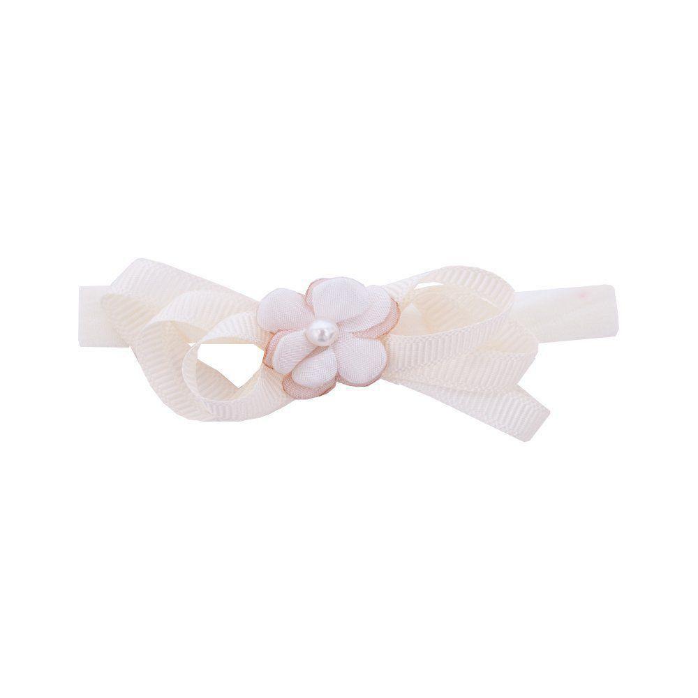Faixa bebê de meia laço e flor - Marfim