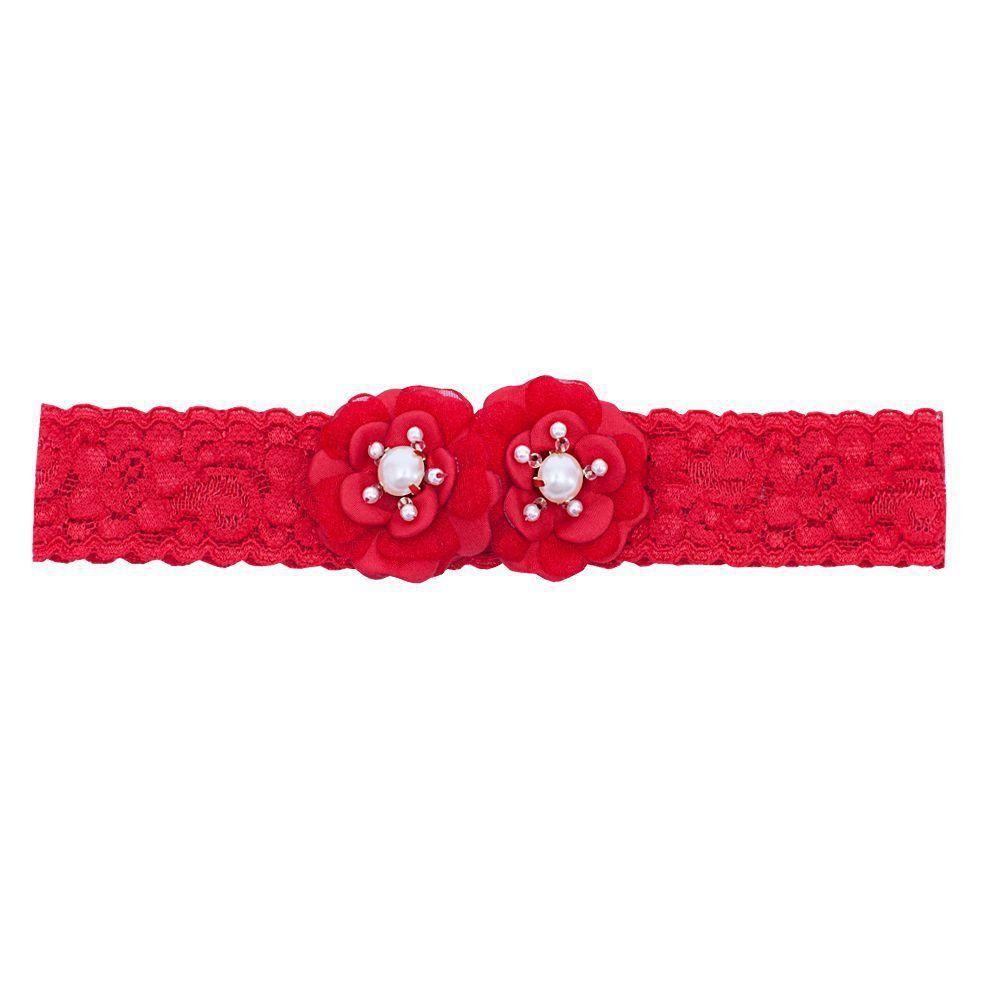 Faixa bebê de renda 2 flores - Vermelho