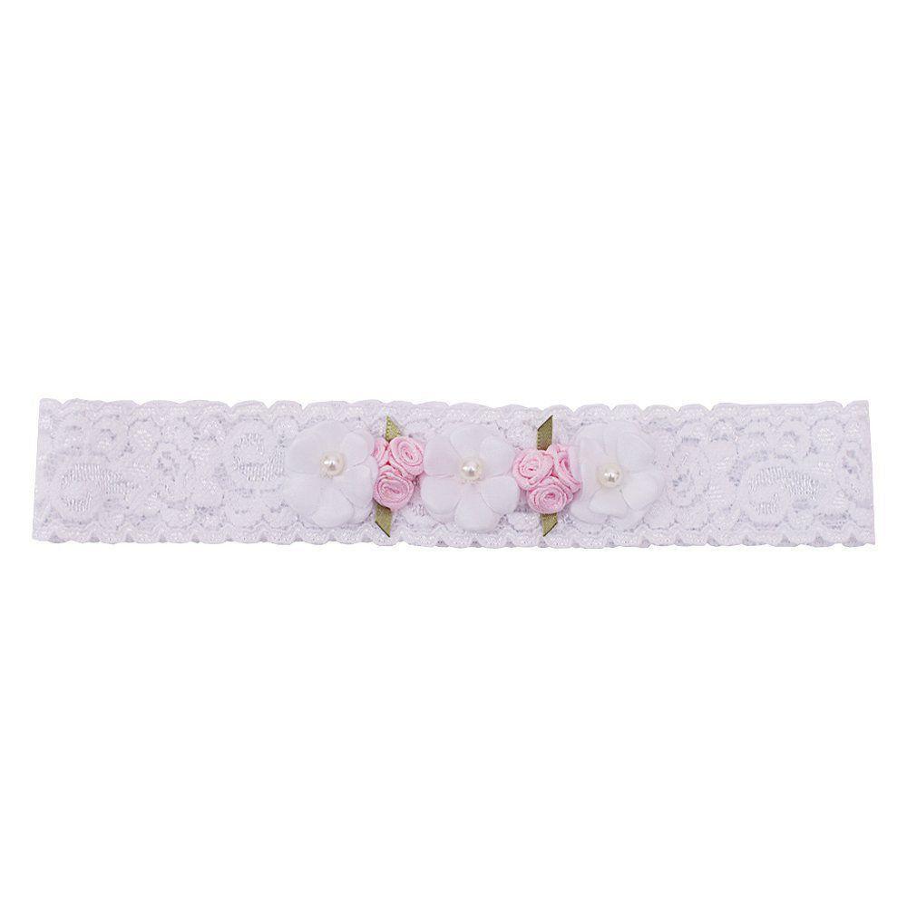 Faixa bebê de renda 3 flores - Branco e rosa