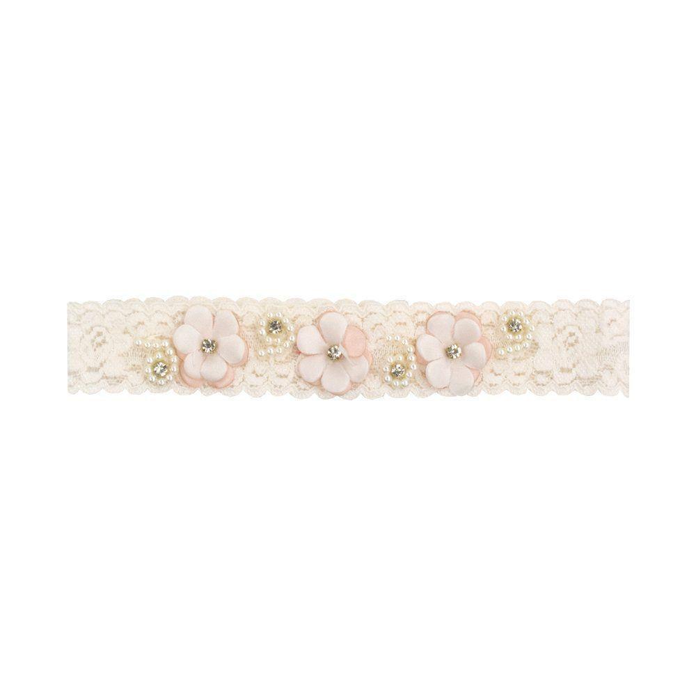 Faixa bebê de renda com flor e strass - Marfim e rosê