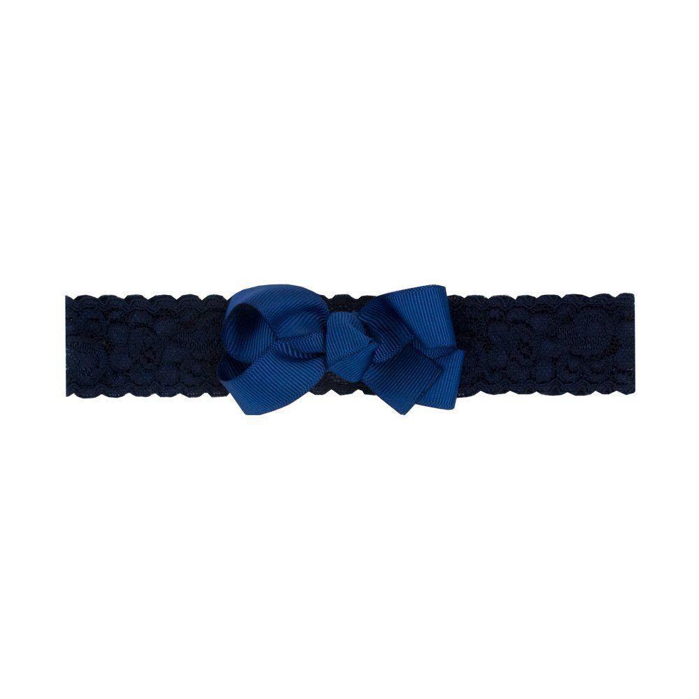 Faixa bebê de renda com laço - Azul marinho