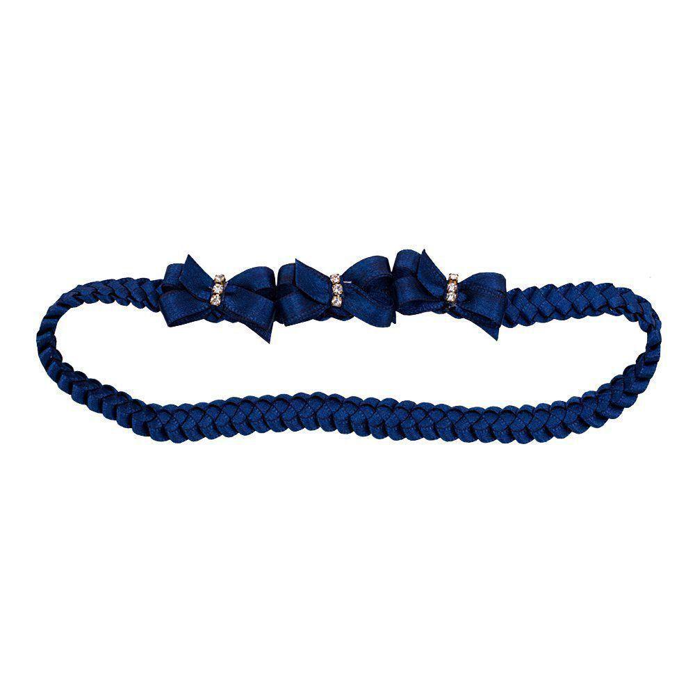 Faixa bebê de trança 3 laços - Azul marinho