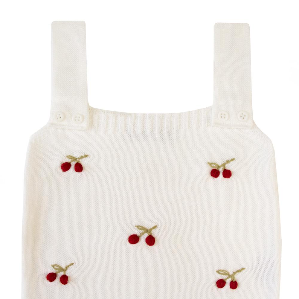 Jardineira bebê cerejinha - Branco