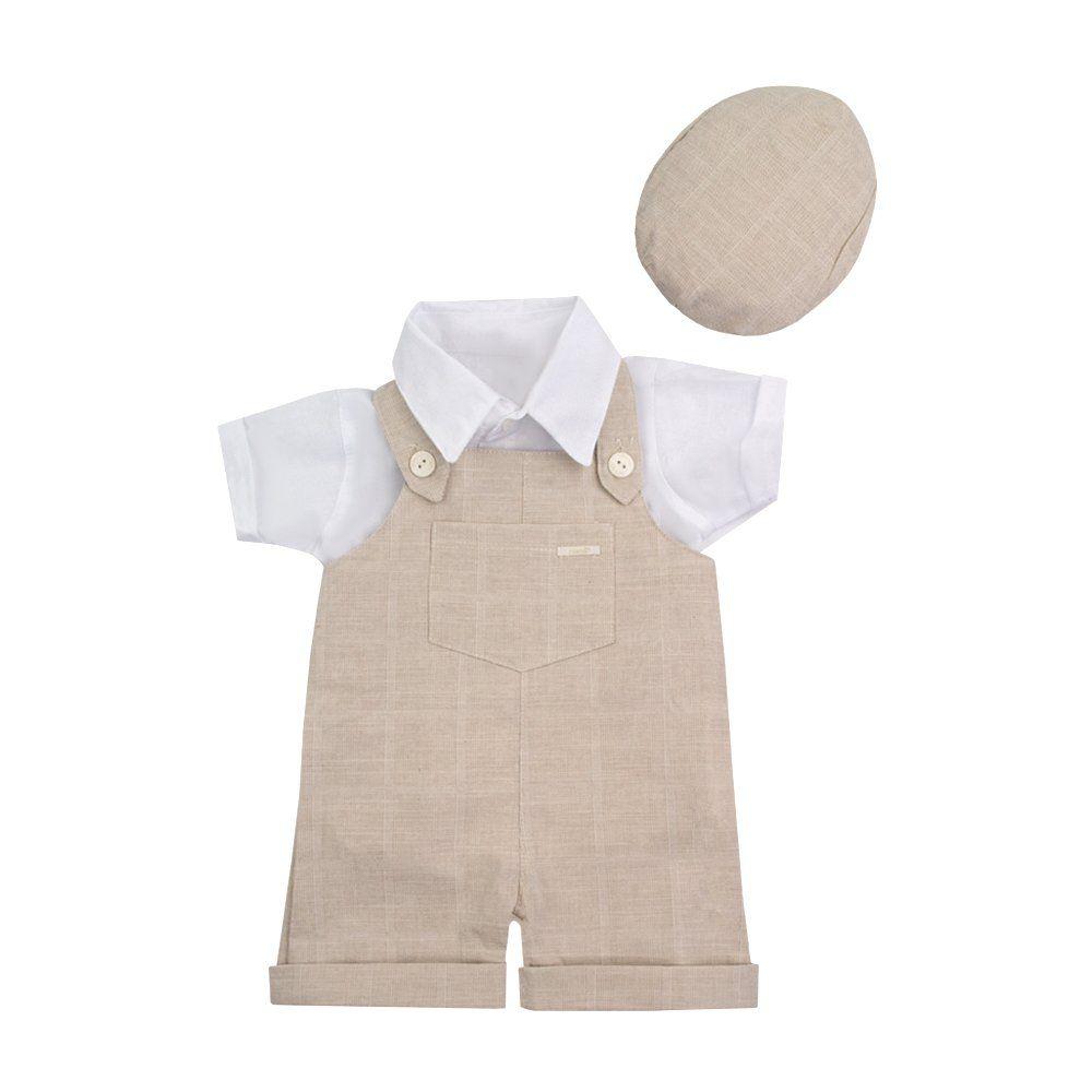 2f1afbf5baede Jardineira bebê com camisa e boina - Bege e branco - Petit Pois Enfant ...
