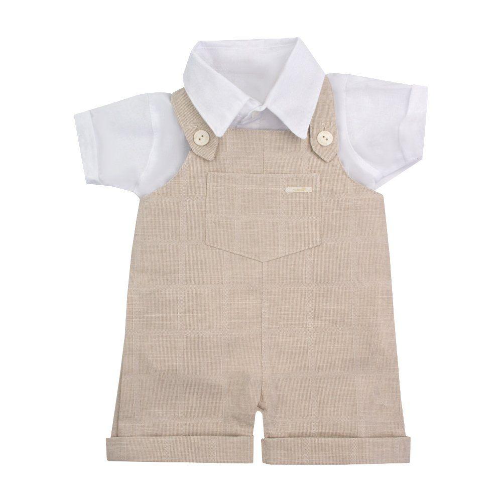... Jardineira bebê com camisa e boina - Bege e branco - Petit Pois Enfant  ... d5440338017