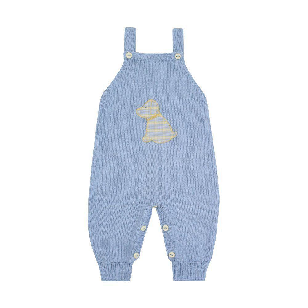 Jardineira bebê em tricot cachorrinho - Azul bebê