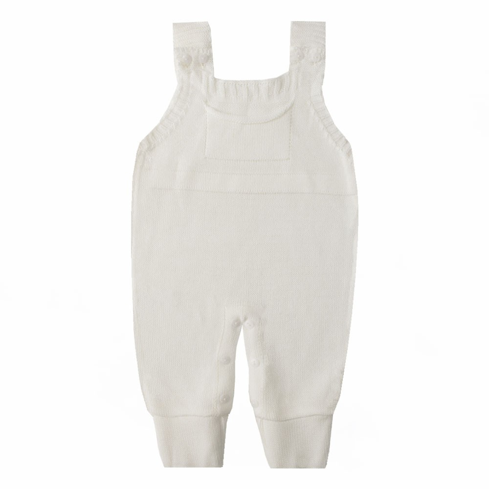 Jardineira bebê em tricot - Off white