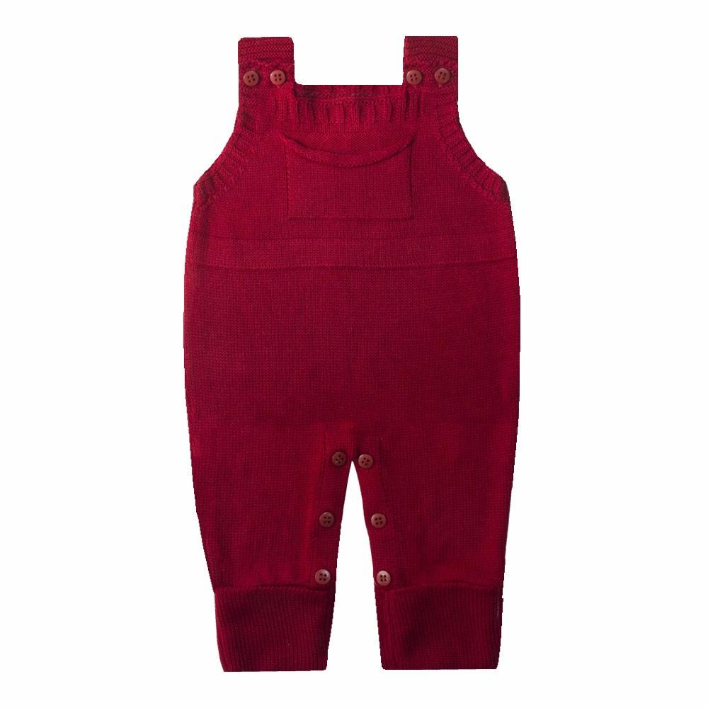 Jardineira bebê em tricot - Vermelho red night