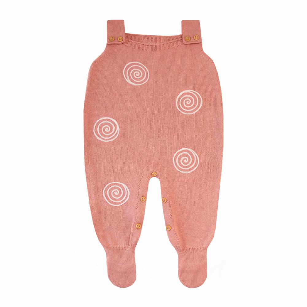 Jardineira bebê espiral - Rosa cravo e branco