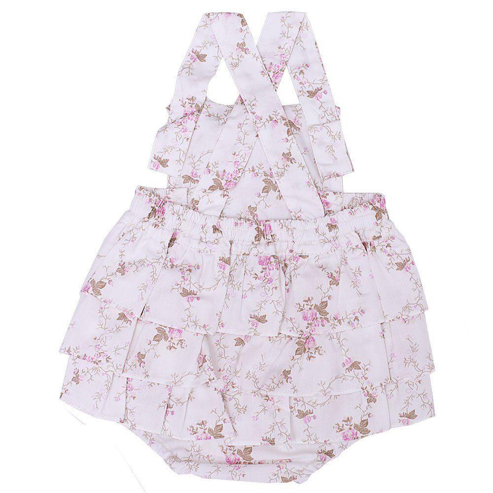 Jardineira bebê frufru estampa floral com laço - Marfim