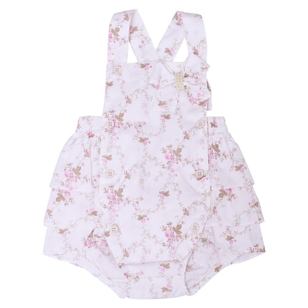 Jardineira bebê frufru estampa floral - Marfim