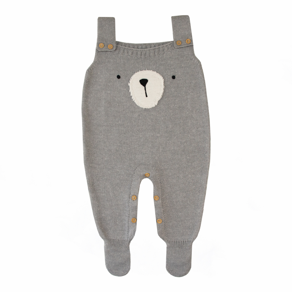 Jardineira bebê urso - Cinza