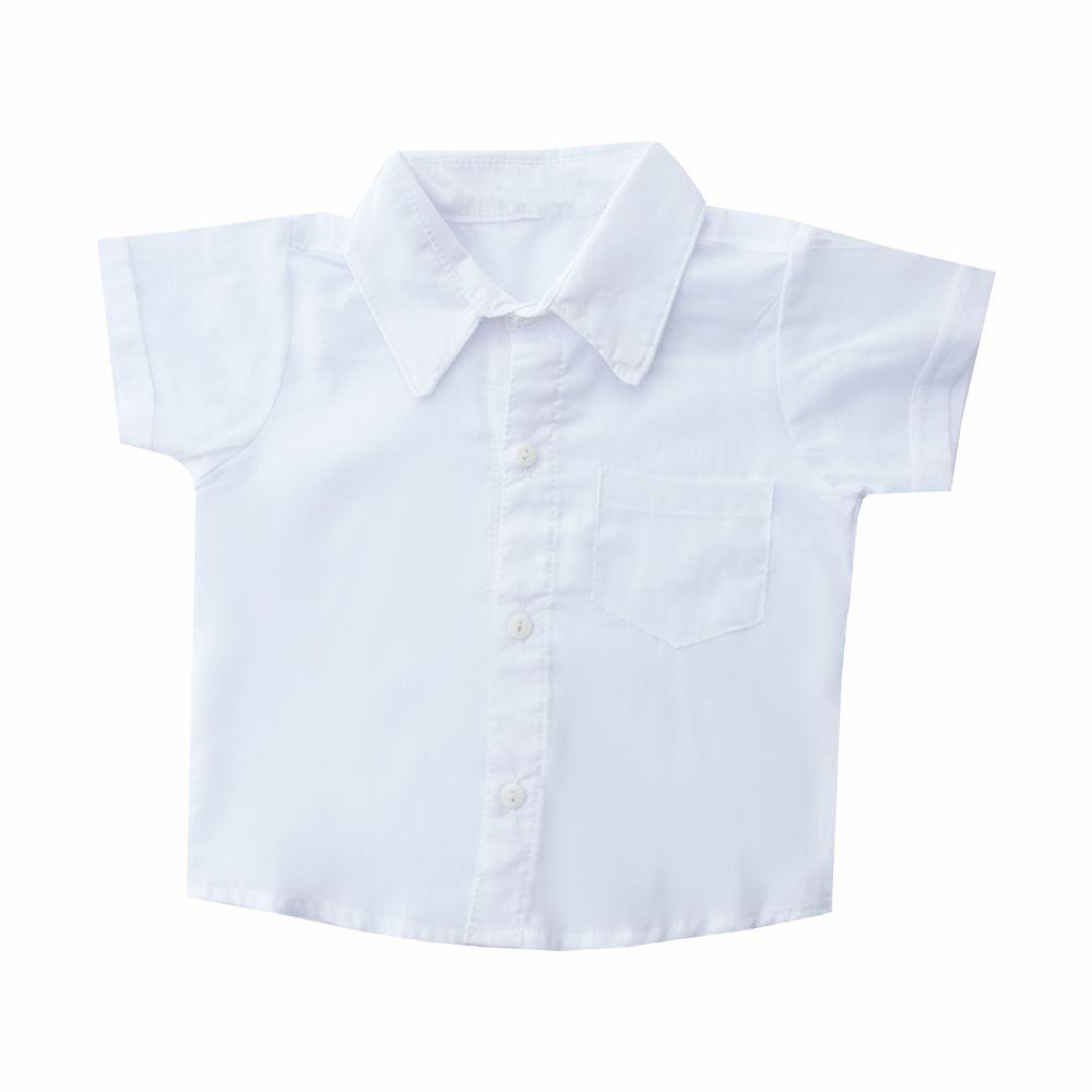 Jardineira bebê xadrez com camisa  - Azul marinho e branco