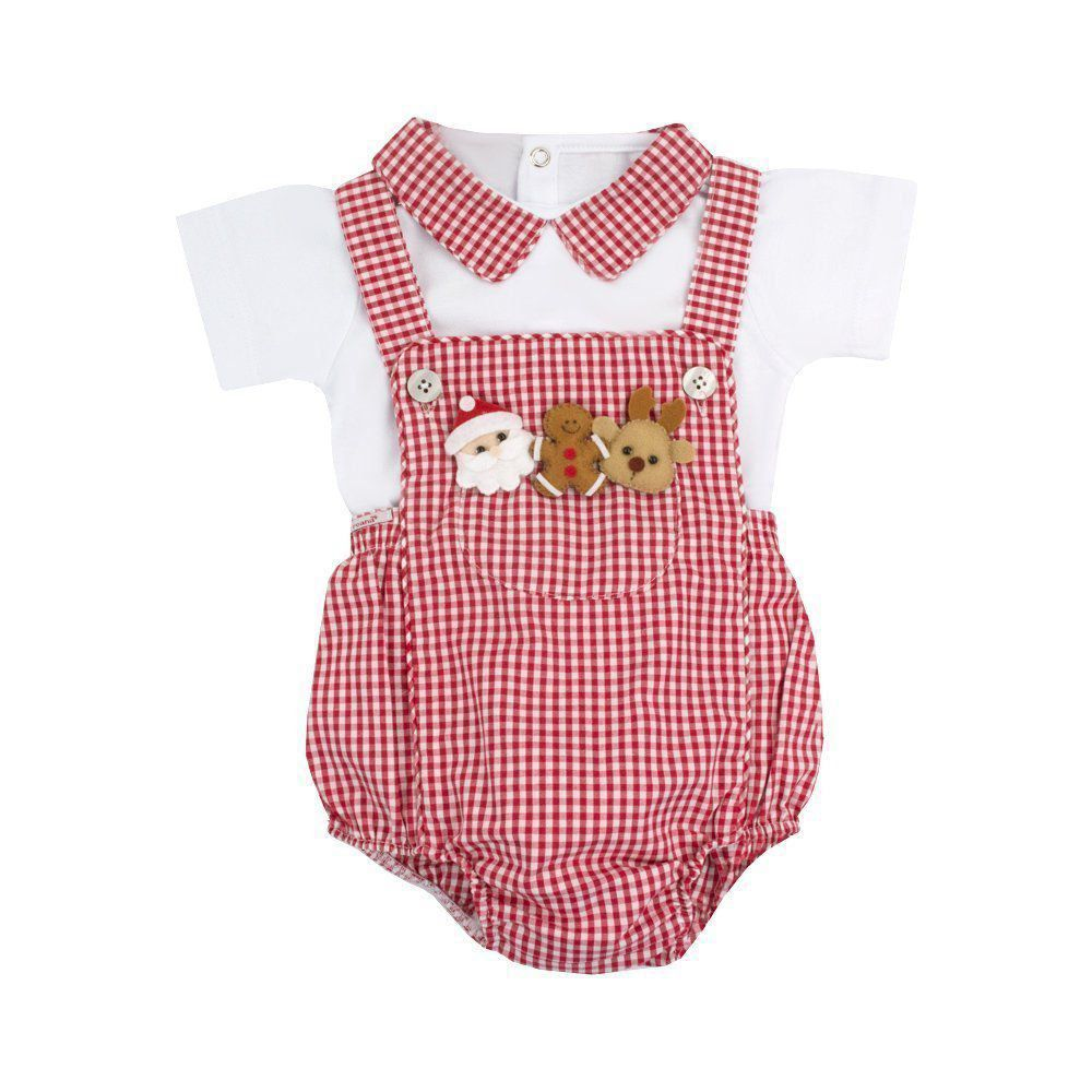 7795de0ef3ab3 Jardineira bebê xadrez e body especial natal - Vermelho e branco - Petit  Pois Enfant ...