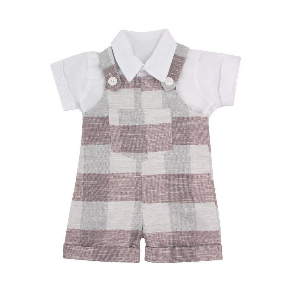 cd7740d15be07 Jardineira e camisa bebê masculina xadrez - Branco e rolex - Petit Pois  Enfant ...