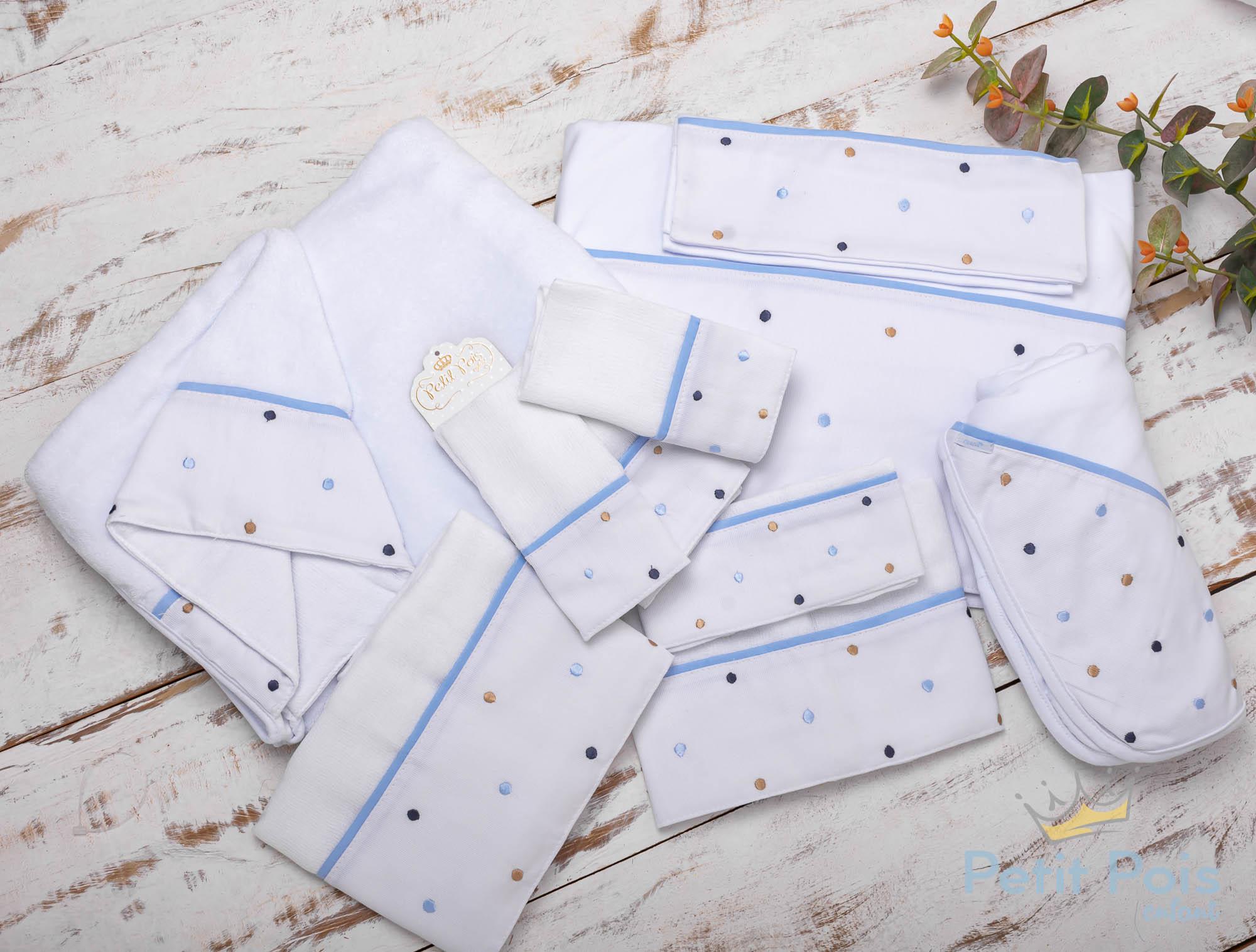 Kit enxoval 6 peças poás - Branco e azul bebê