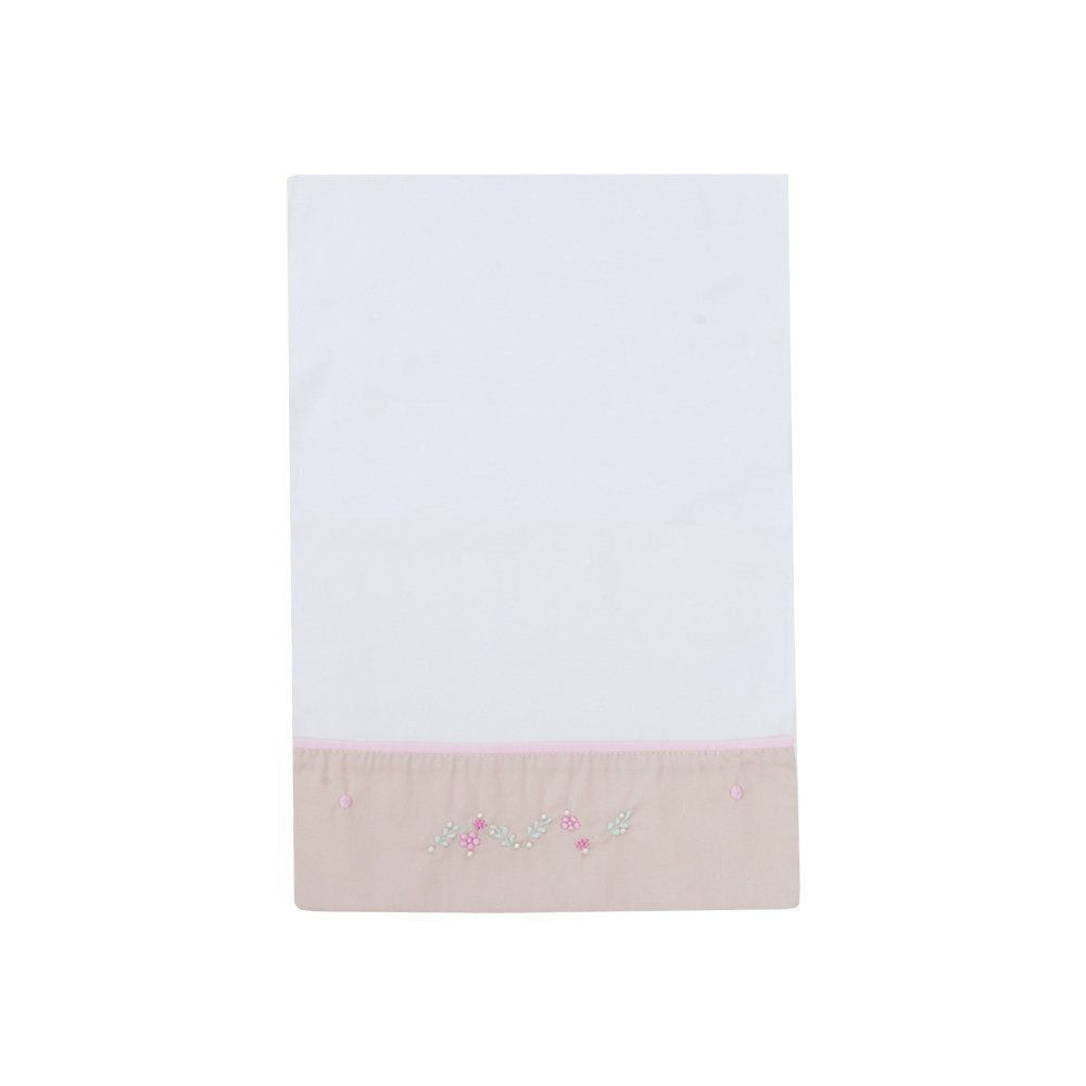 Kit lençol de berço 3 peças bordado - Branco