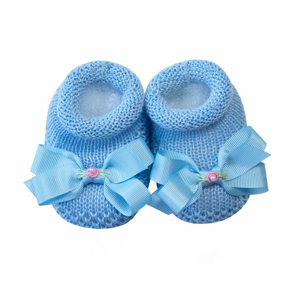 Kit sapatinho e faixa bebê com laço de cetim bordado - Azul bebê