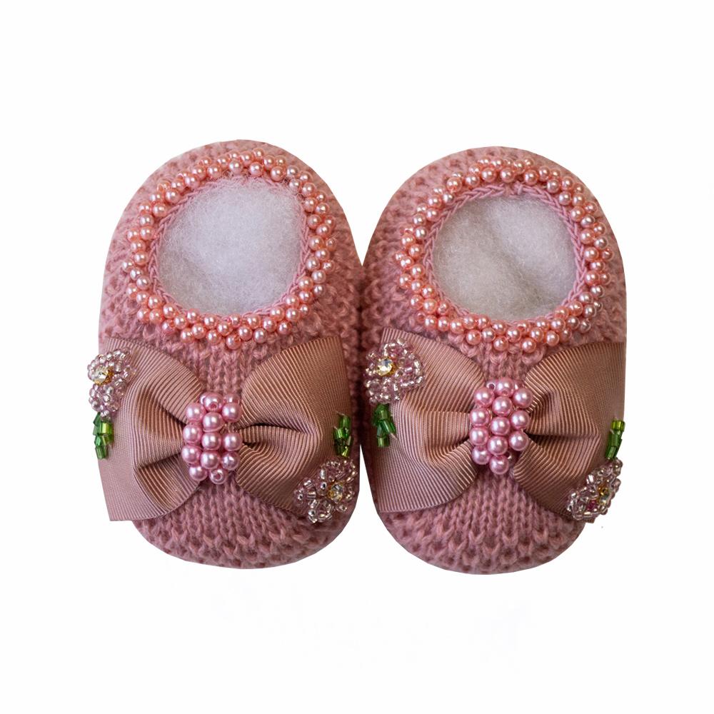 Kit sapatinho e faixa bebê laço de gorgurão bordado - Rosê