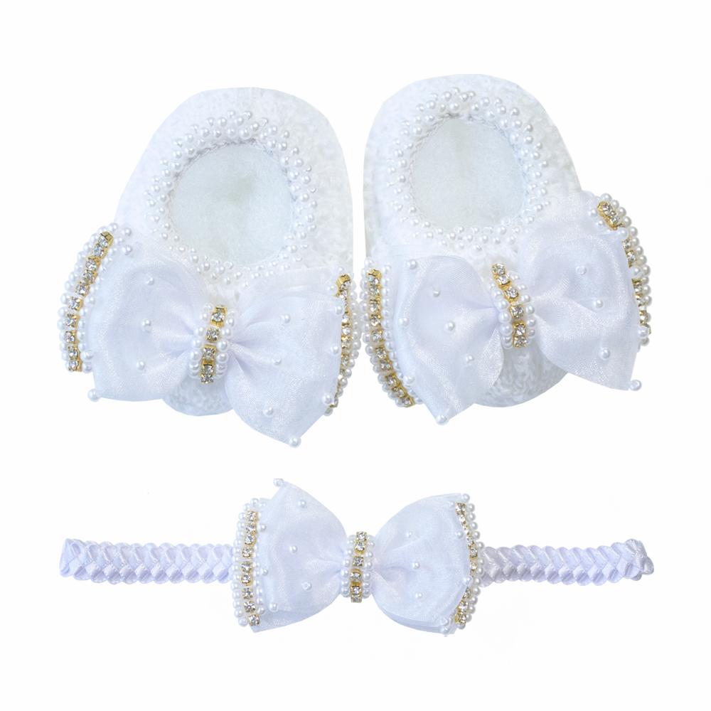 Kit sapatinho e faixa bebê laço de organza bordado com pérolas e strass - Branco