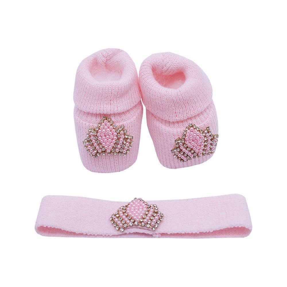 Kit sapatinho e faixa coroa - Rosa bebê