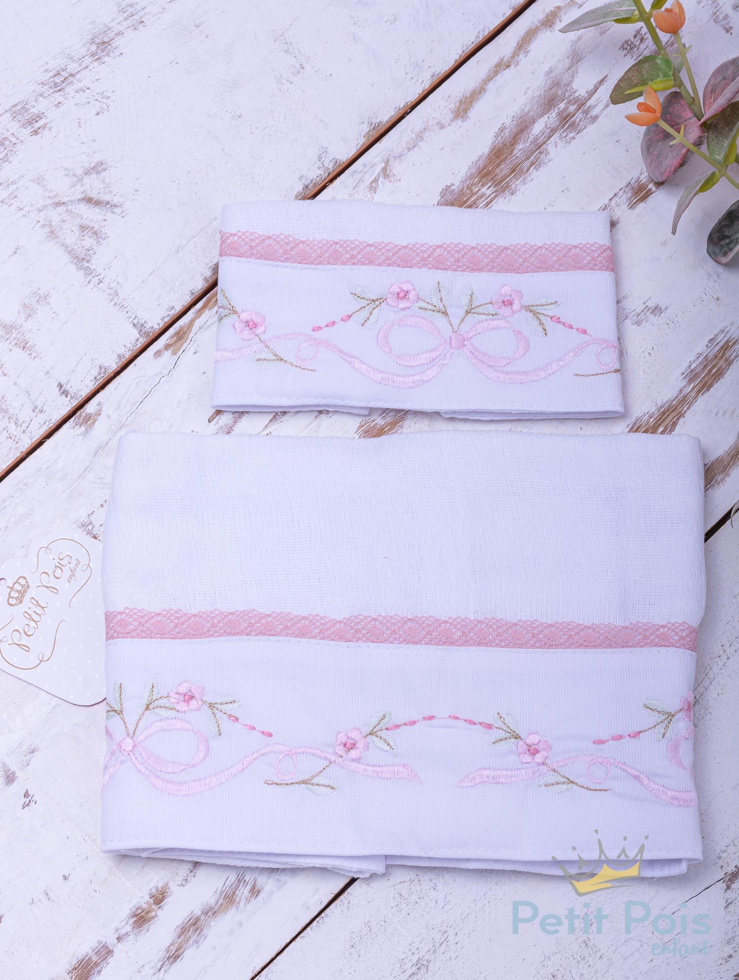 Kit toalha de boca com 2 peças floral - Branco