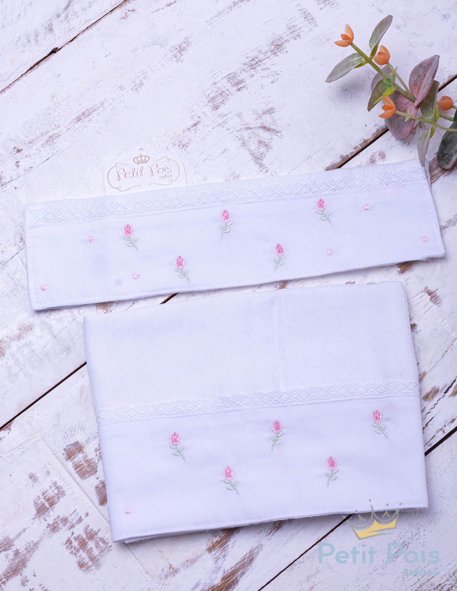 Kit toalha de boca com 2 peças tulipa - Branco e rosa