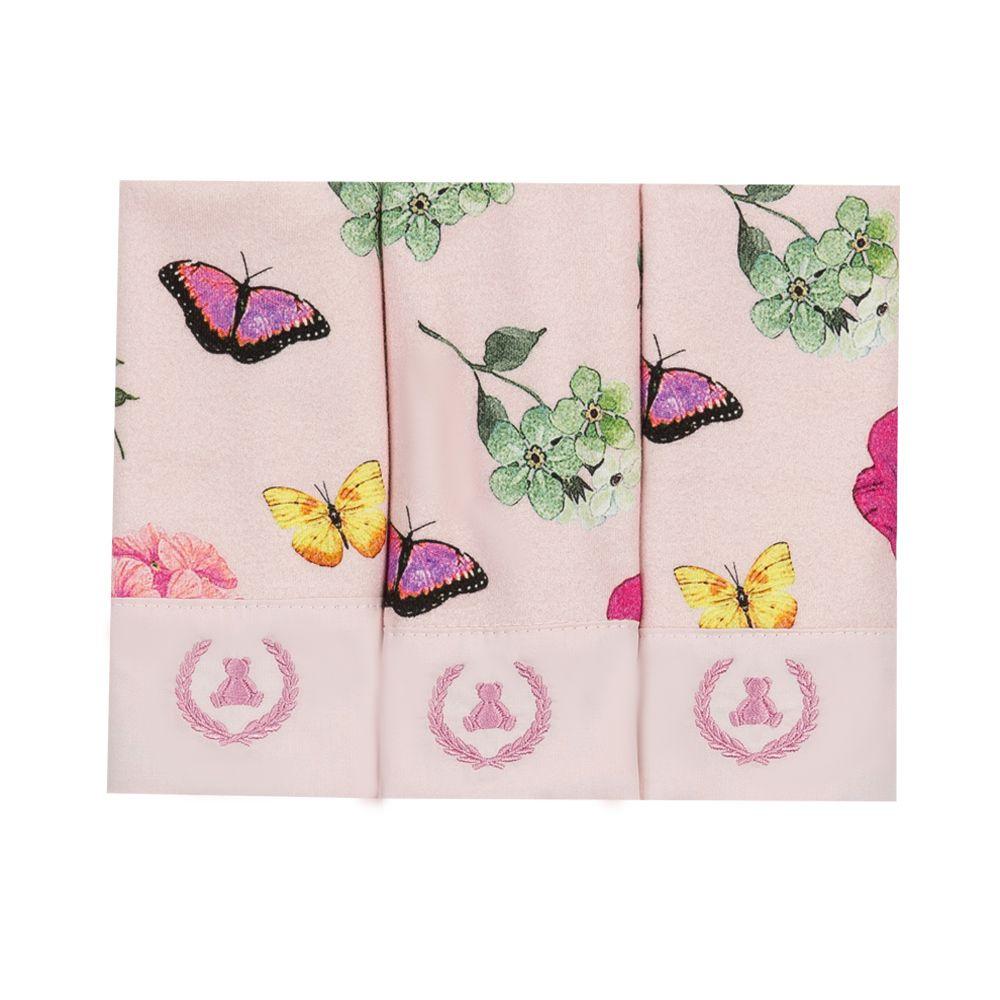 Kit toalha de boca com 3 peças borboleta - Rosa bebê