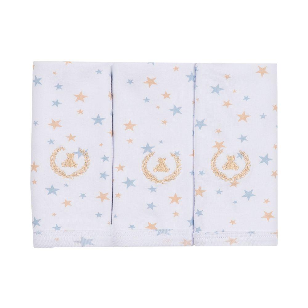 Kit toalha de boca com 3 peças estrela - Branco