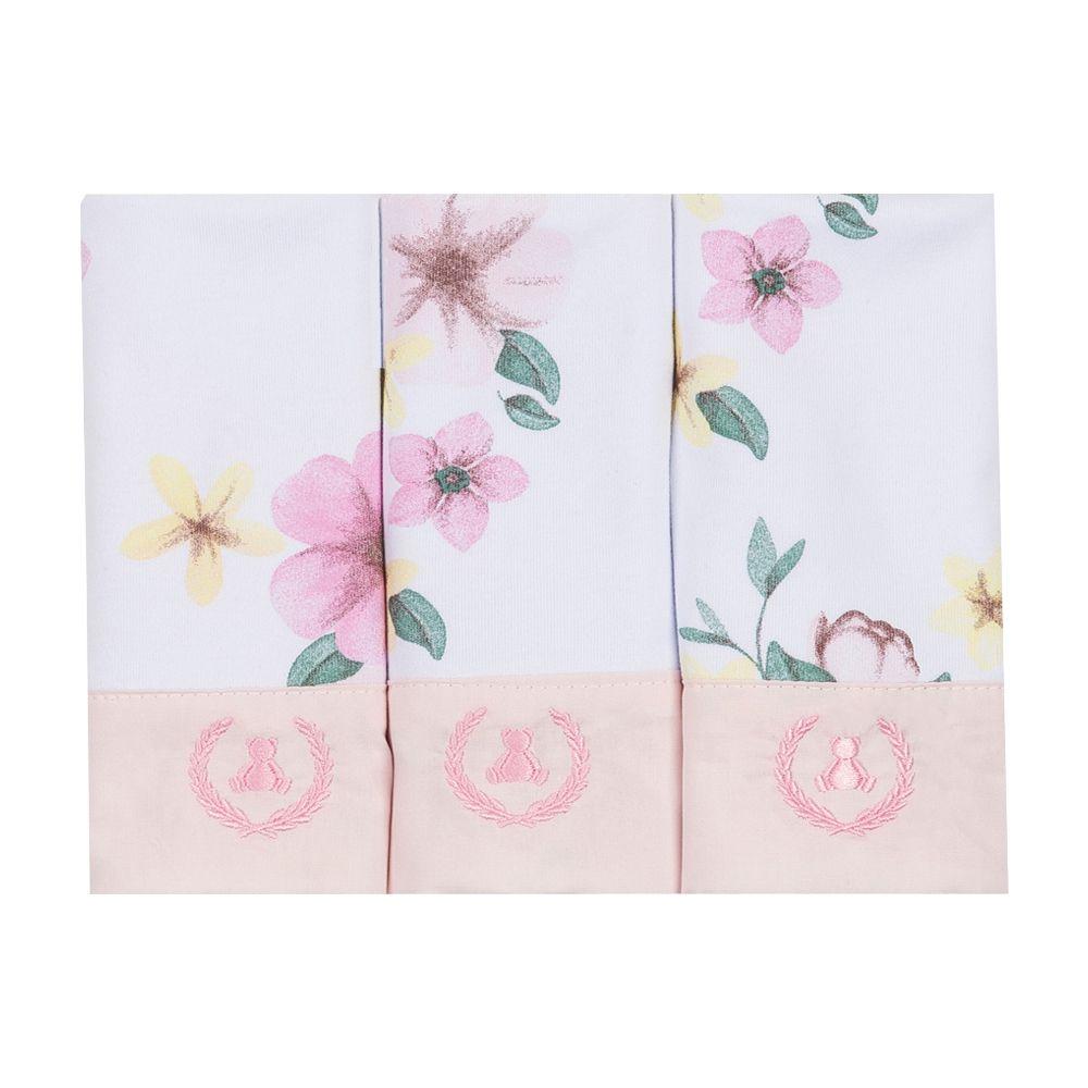 Kit toalha de boca com 3 peças floral - Branco e rosa