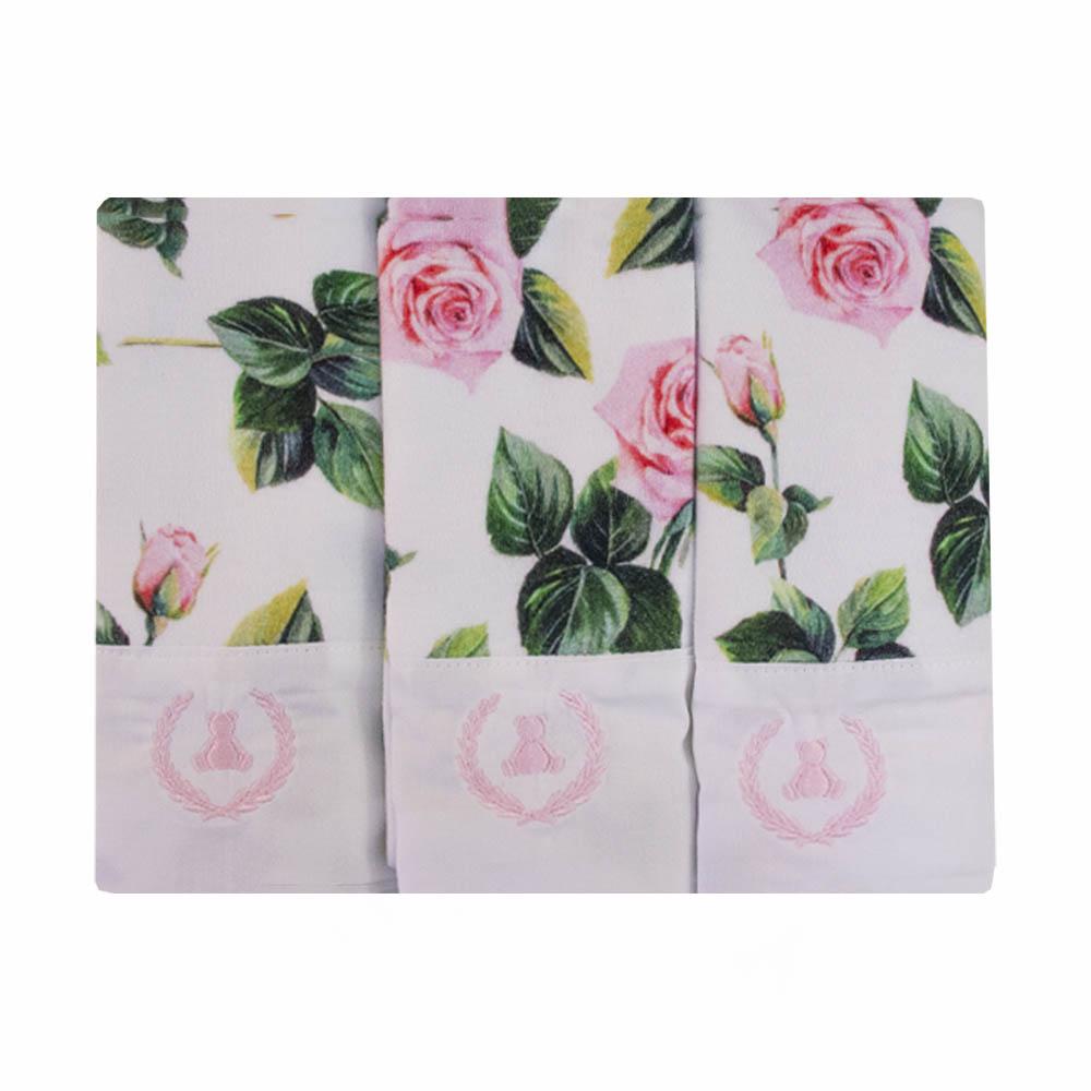 Kit toalha de boca com 3 peças floral - Branco e verde