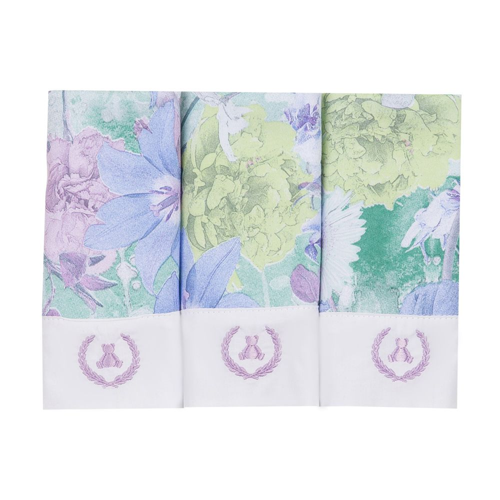 Kit toalha de boca com 3 peças floral - Lilás