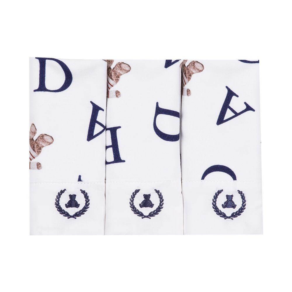 Kit toalha de boca com 3 peças ursinho abc - Branco e azul marinho