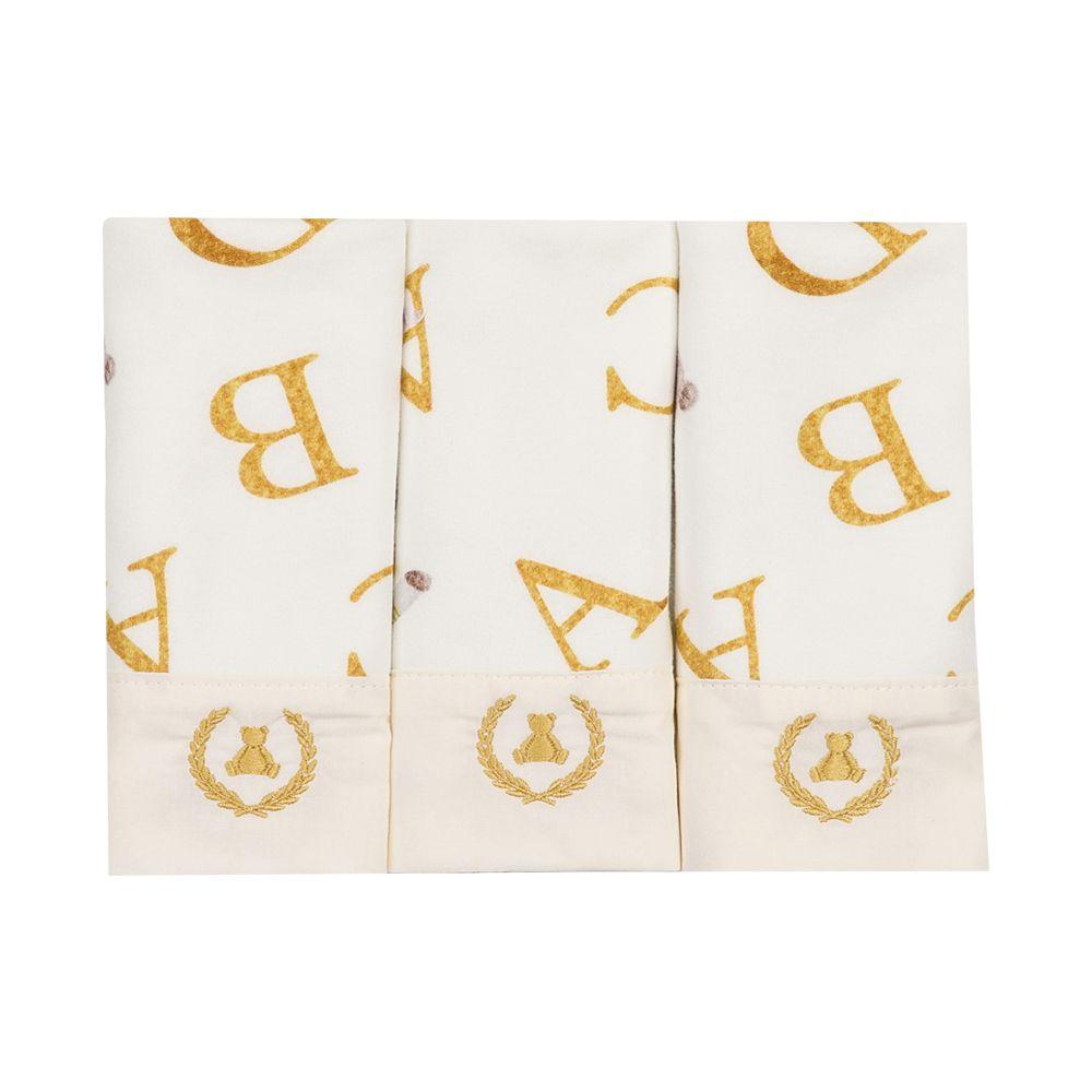 Kit toalha de boca com 3 peças ursinho abc - Off white