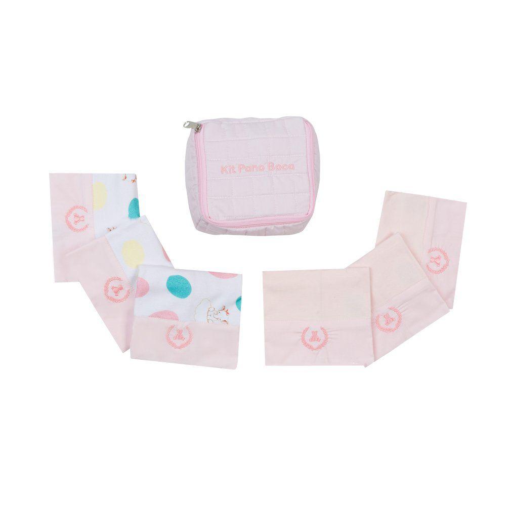 Kit toalha de boca com 7 peças elefantinho - Rosa bebê