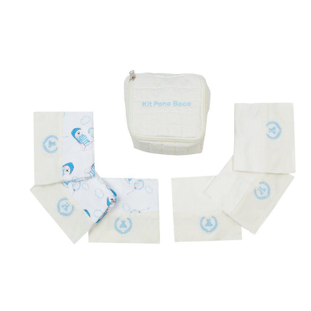 Kit toalha de boca com 7 peças ursinho - Marfim e azul bebê