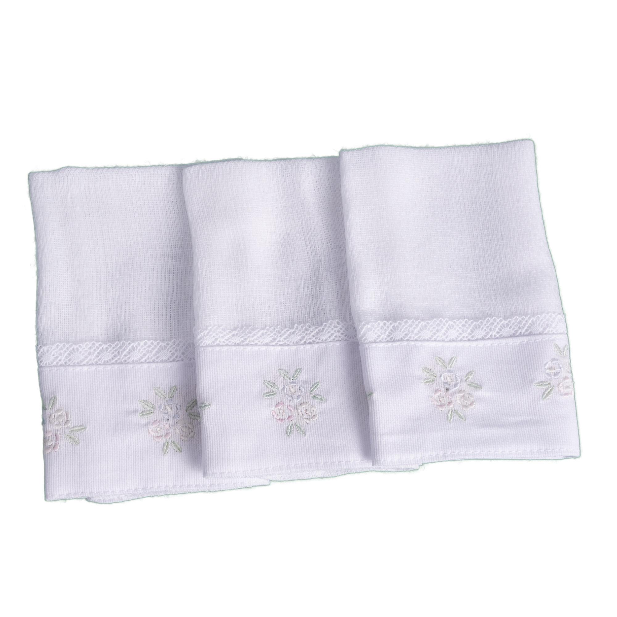 Kit toalha de boca flor com renda 3 peças - Branco