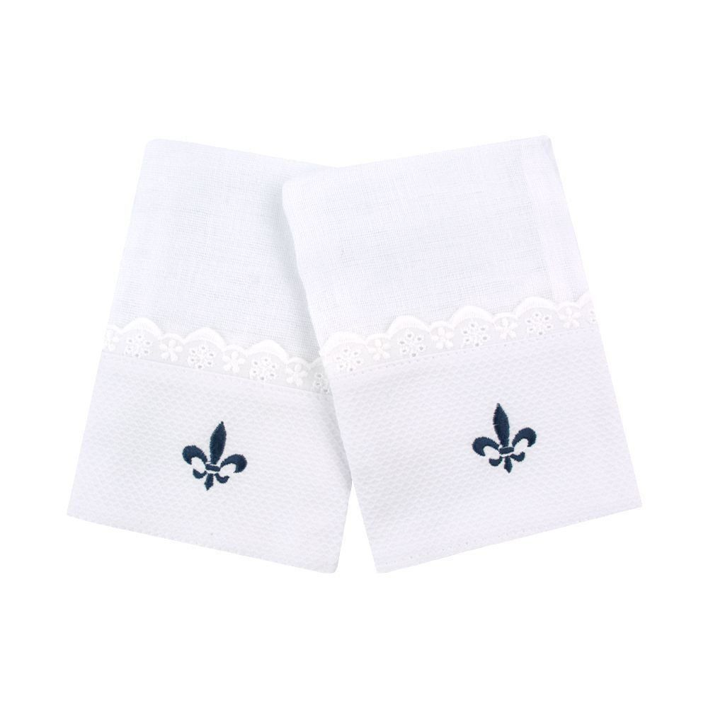Kit toalha de boca flor de lis 2 peças - Branco e azul marinho