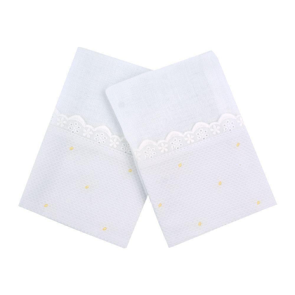 Kit toalha de boca poás 2 peças - Branco e amarelo bebê