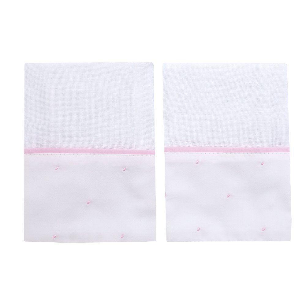 Kit toalha de boca poás com 2 peças - Branco e rosa bebê
