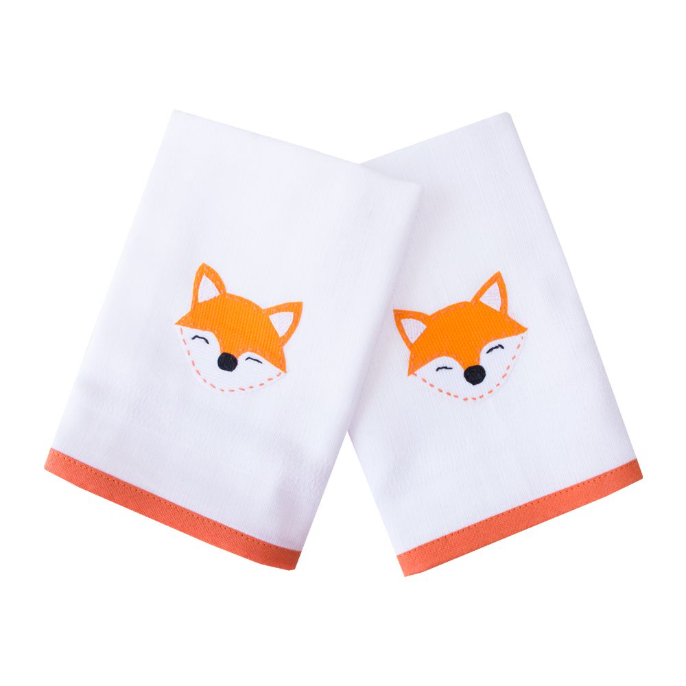 Kit toalha de boca raposa com 2 peças - Branco e laranja