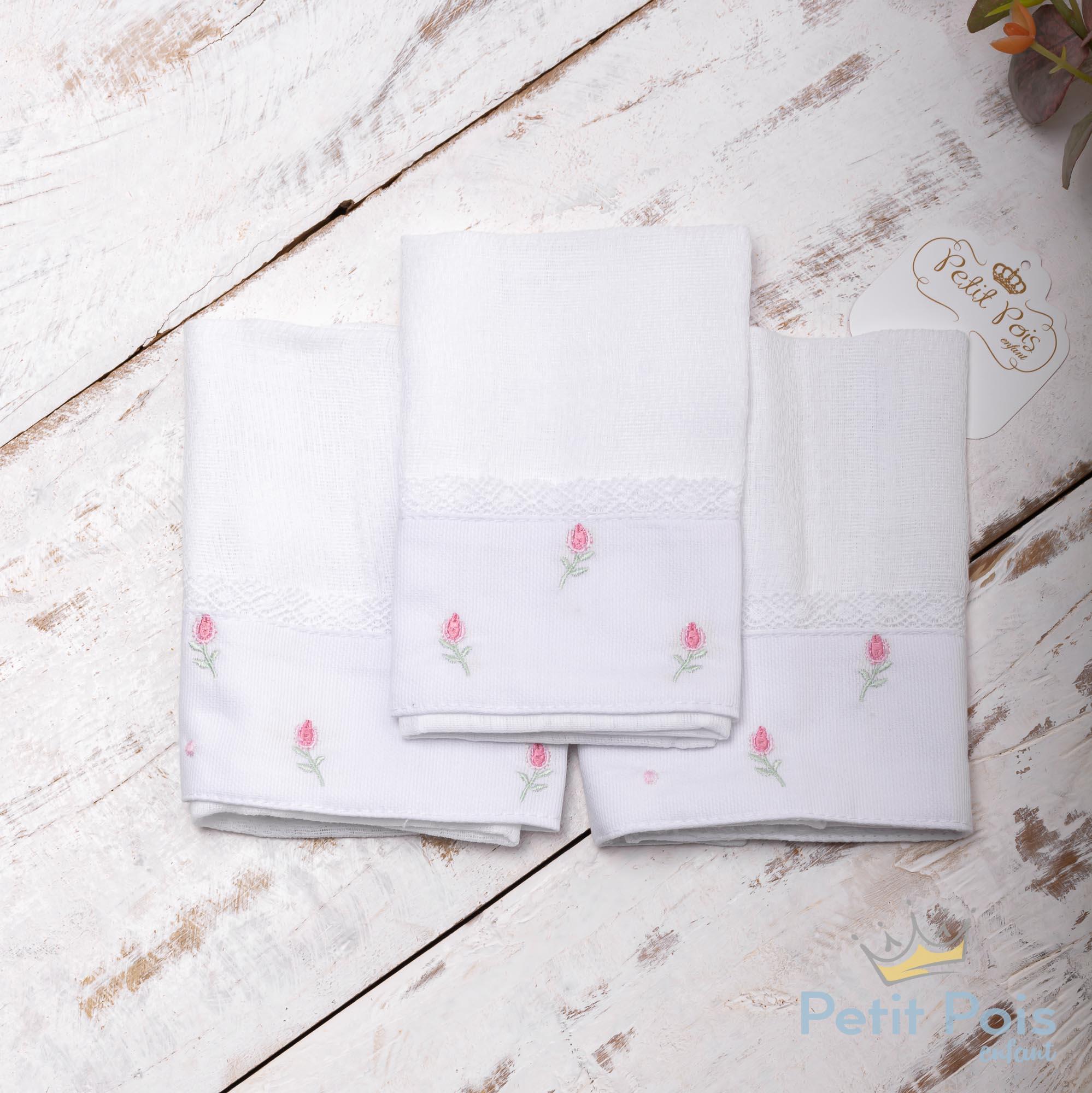 Kit toalha de boca tulipa 3 peças - Branco e rosa