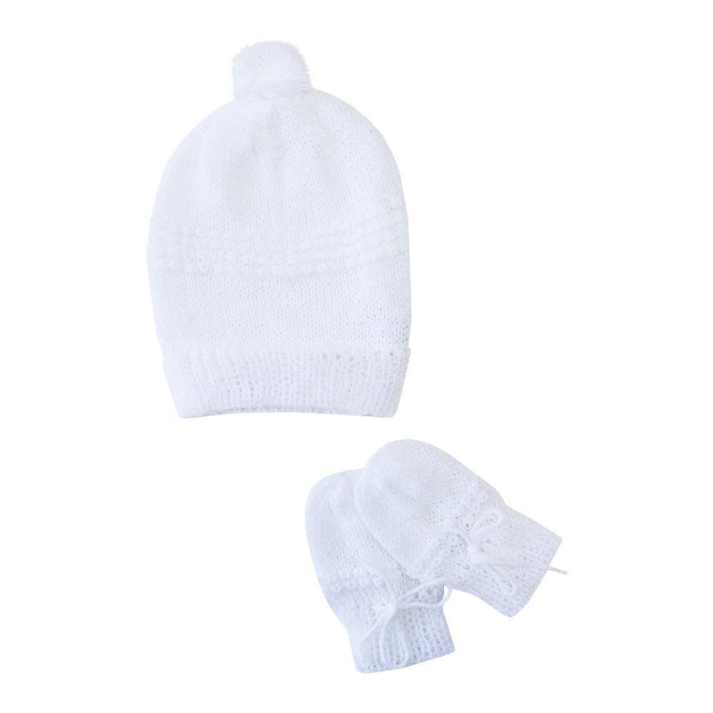 Kit touca e luva bebê - Branco