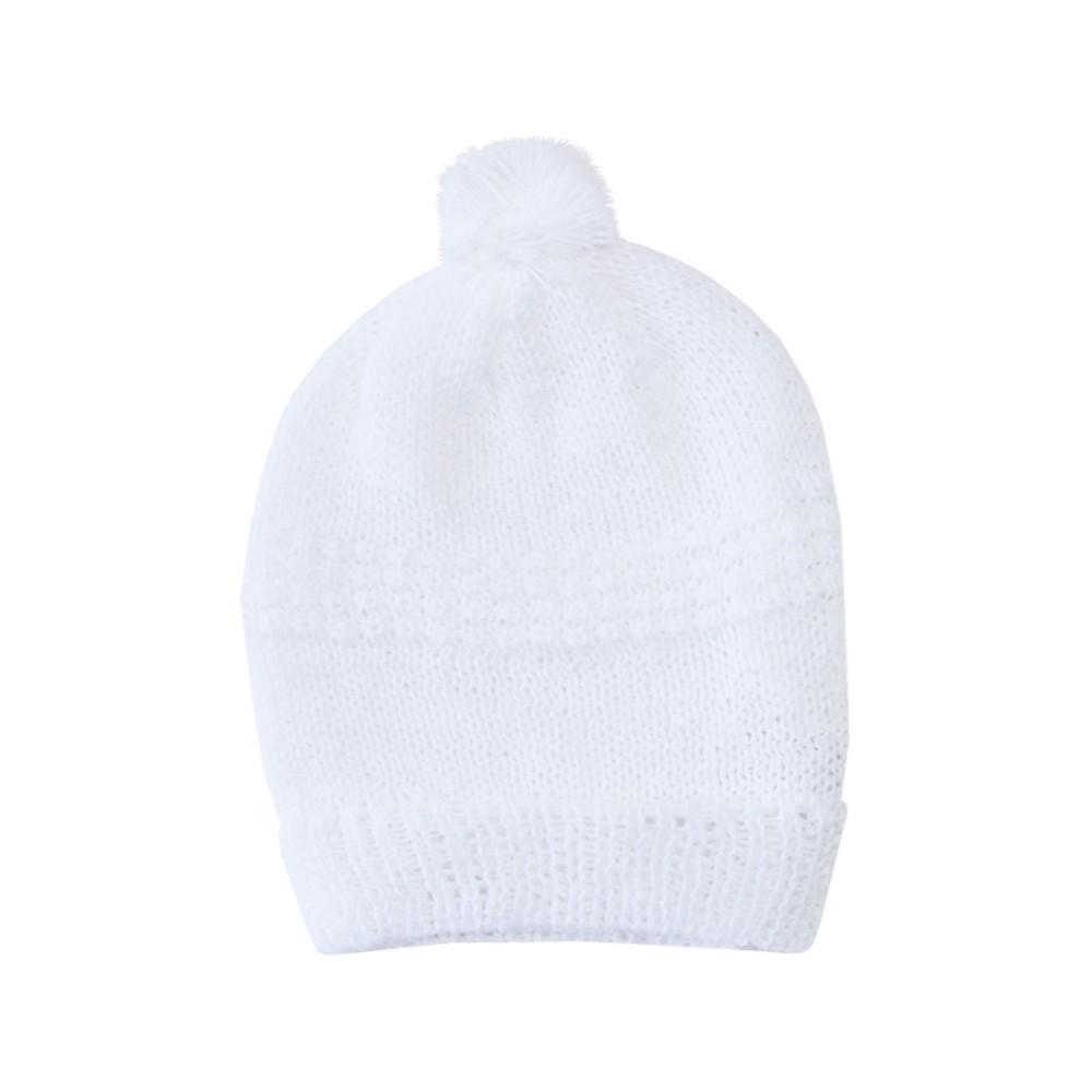 Kit touca e luva tricot - Branco