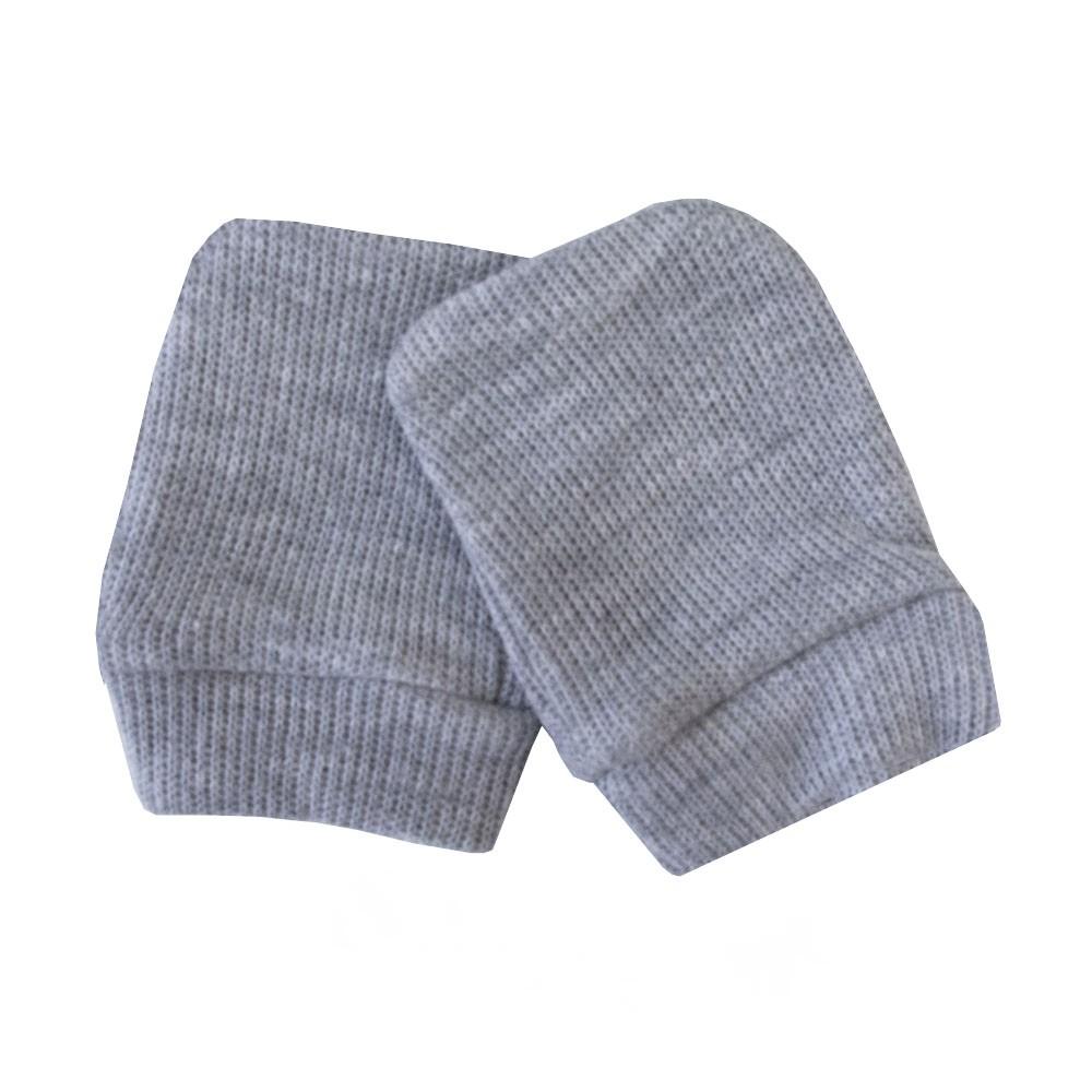 Kit touca e luva bebê em malha tricotil - Cinza