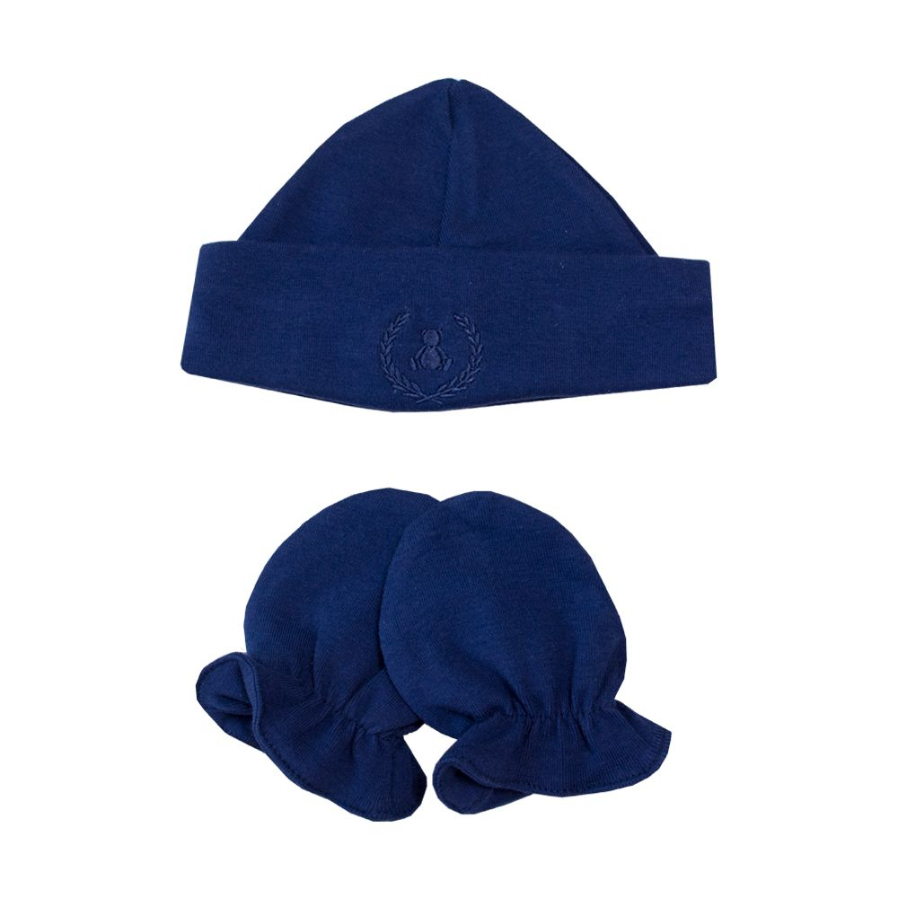 Kit touca e luva em suedine - Azul naval
